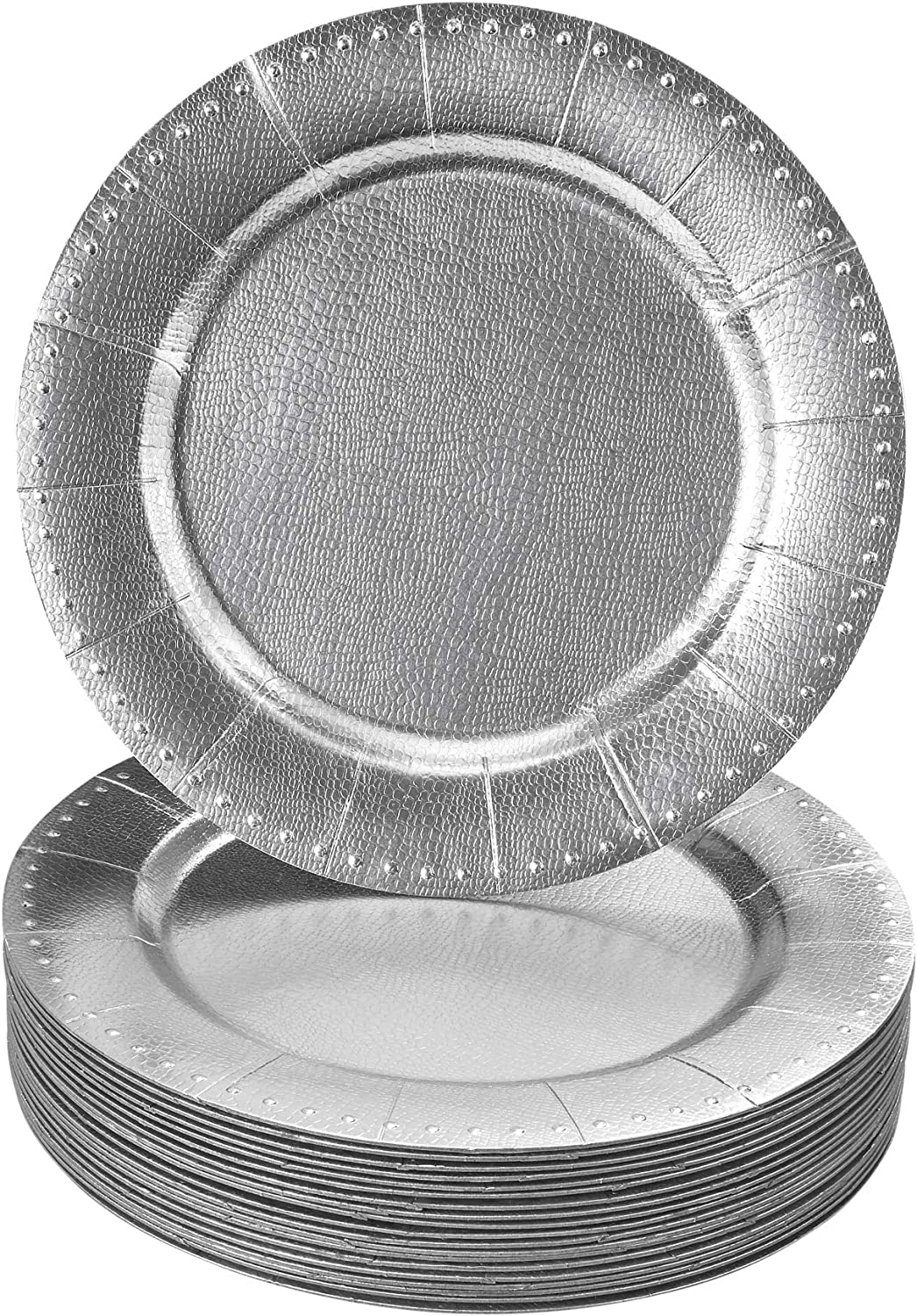 DISPOSABLE ROUND CHARGER PLATES - 40pc (Silver/Beaded)