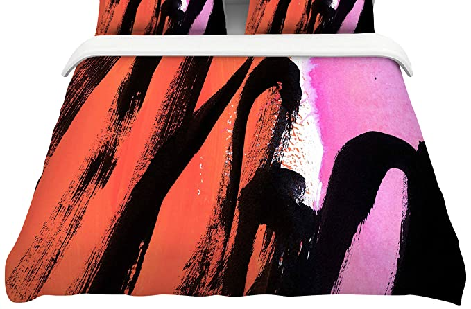 Kess InHouse EBI Emporium Agate Magic 88 x 88 Elegance 2 Gray Tan Watercolor Queen Featherweight Duvet Cover