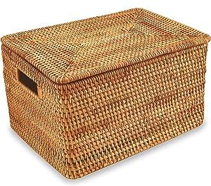 YAHOMMY Rattan Storage Basket- Handwoven Wicker basket With Lid (14.9