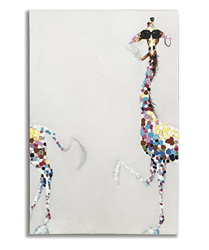 1aa2f3de4628f Giraffe Paintings, 100% Hand Painted Funny Animal Fashion Giraffe with  Sunglasses Canvas Oil Painting Stretched and Framed Ready to Hang Living  Room ...