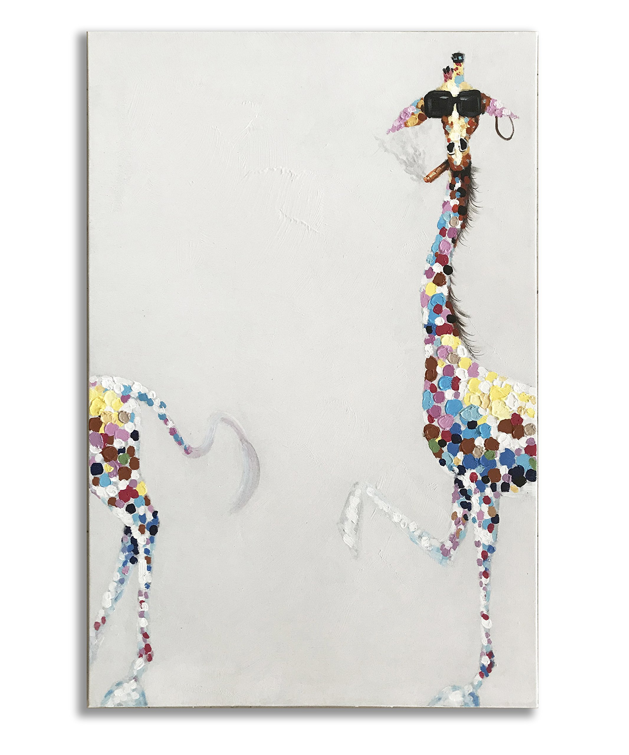 Giraffe Paintings, 100% Hand Painted Funny Animal Fashion Smoking Giraffe with Sunglasses Canvas Oil Painting Stretched and Framed Ready to Hang Living Room Bedroom Office Bathroom 24'' x36''