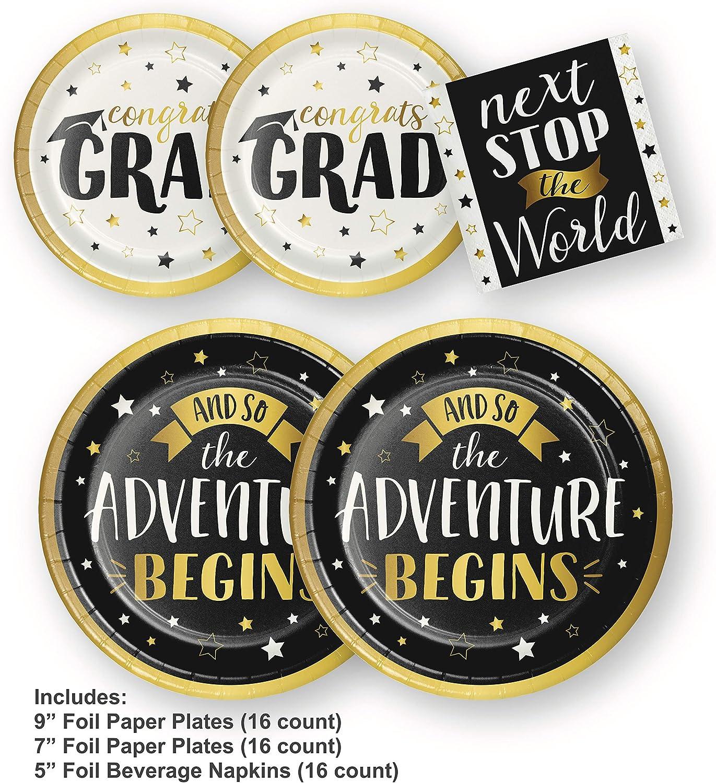 Adventure Begins Foil 7 Inch Paper Plates 8 Pack Happy Retirement Party