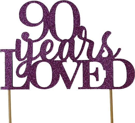 90th Birthday Cake Topper Purple