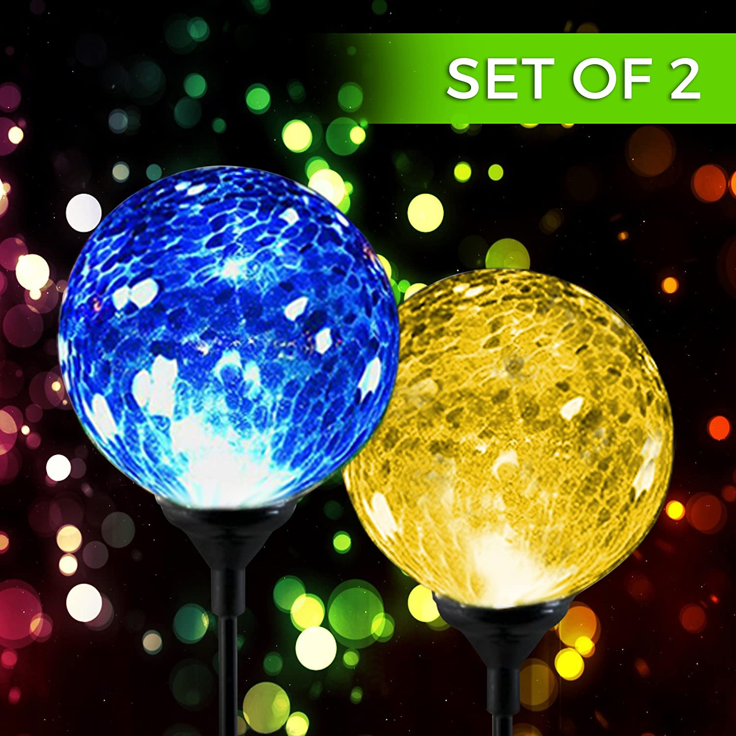 Amazon.com: Solar Powered Crackle Glass Ball  Color Changing Stake Lights   Set Of 2  100% Weatherproof Design  Decorative Landscape Lamps  Wireless  Outdoor ...