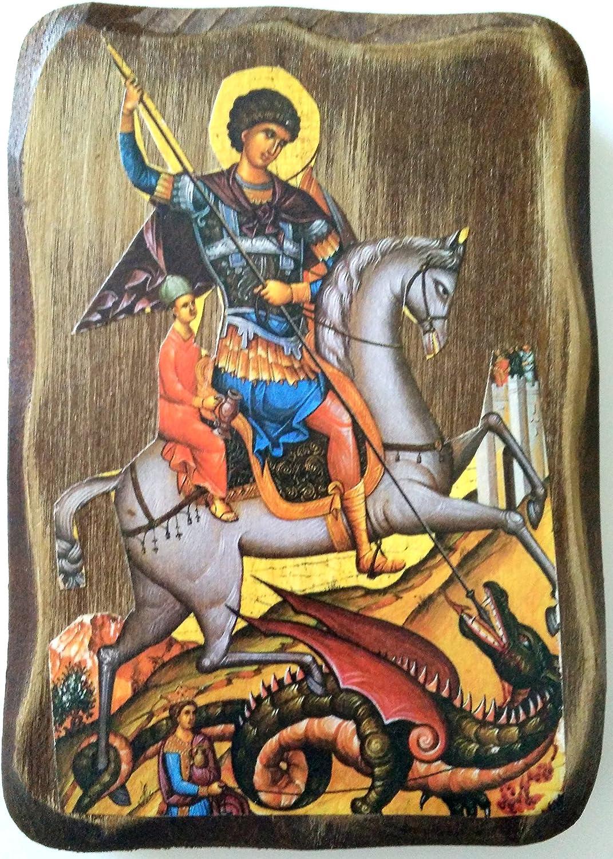 IconsGr Ícono Cristiano ortodoxo Griego de San Jorge montado en su Caballo y Matando Bestia, de Madera, Hecho a Mano / MP7