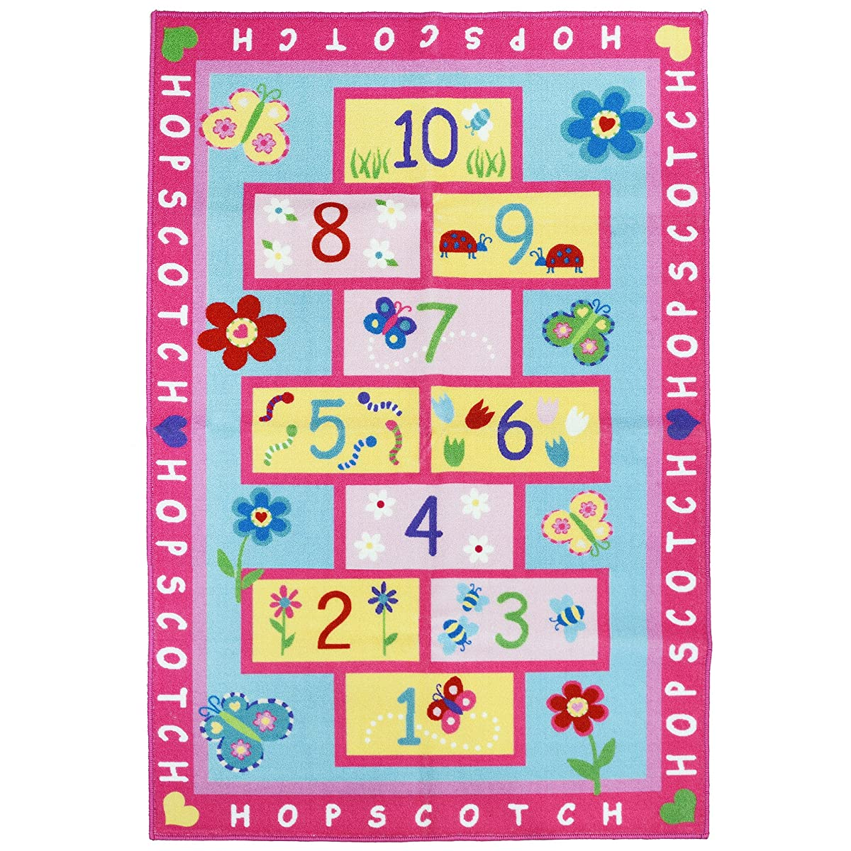 FADFAY Home Textile,Fashion Hopscotch Kids Carpet Bedroom,Sweet Pink Rug,Designer Figure Childrens Rugs