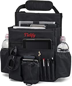 Tidify Car Front Seat Organizer with Rain/Stealth Cover - Dedicated Tablet/Laptop Storage, Stabilizing Side Straps, Soft Adjustable Shoulder Strap and Hardened Buckles - Your Office Away from Office