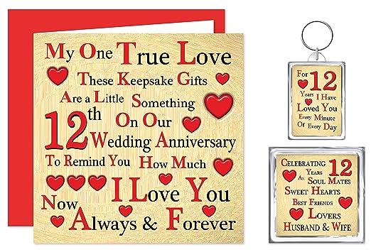 Our 12th Wedding Anniversary Gift Set Card Keyring Fridge