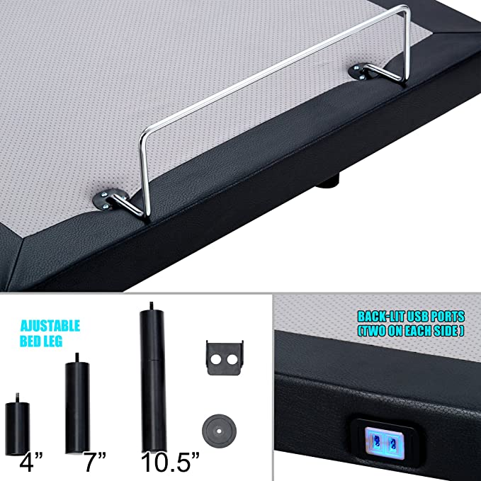 Amazon.com: HOFISH 2I Solid Wood Slat Adjustable Bed Frame - One-Step Assembly Customizable Positions Twin XL Adjustable Bed Base with Backlit Wireless ...