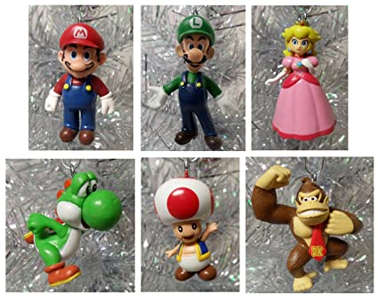 Amazon.com: Super Mario Brothers 6 Piece Christmas Holiday Ornament ...