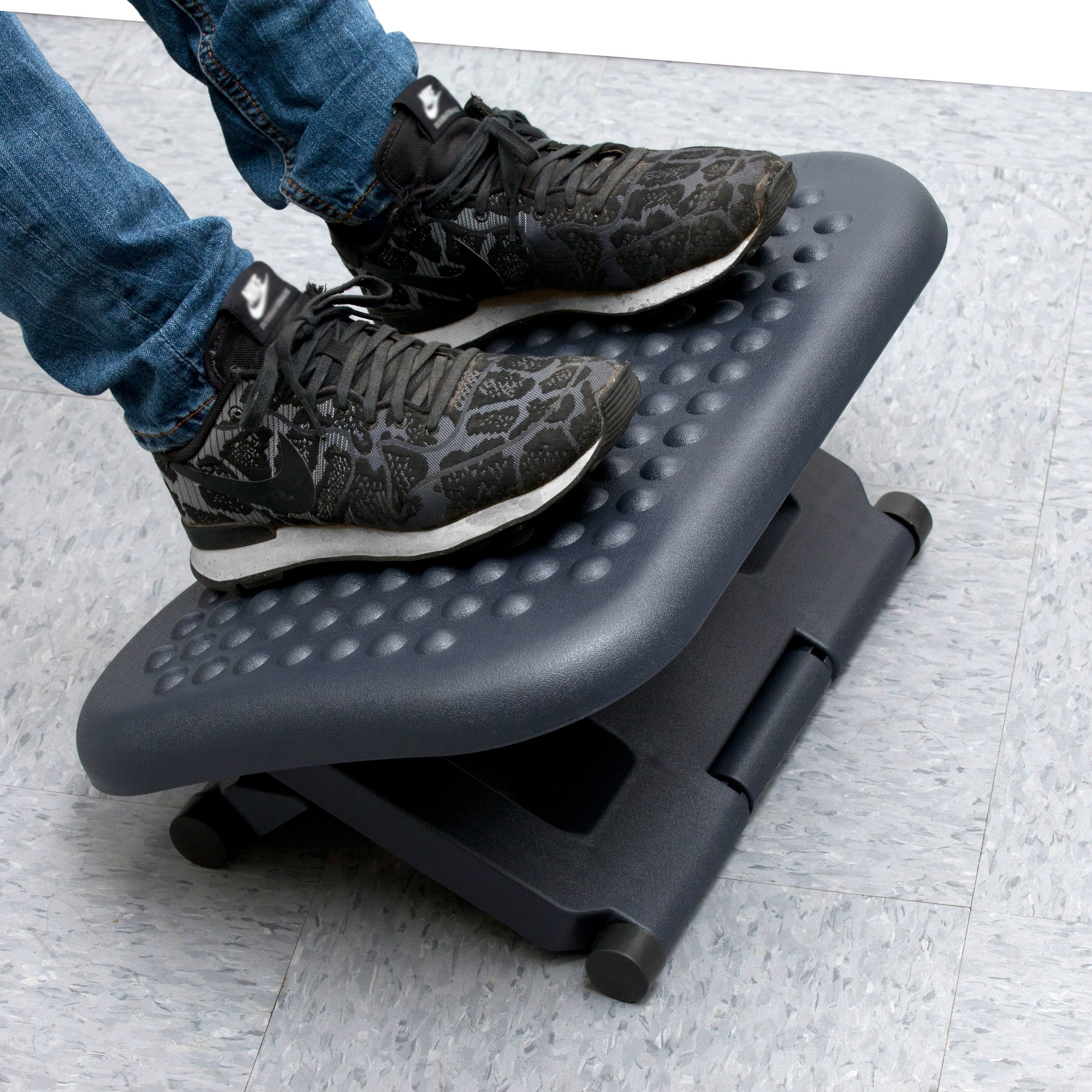 Mind Reader LEGUP-BLK Adjustable Height Ergonomic Foot Rest, Black,
