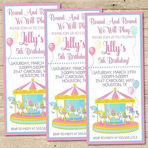 Amazon Com Circus Carousel Birthday Party Ticket Invitations