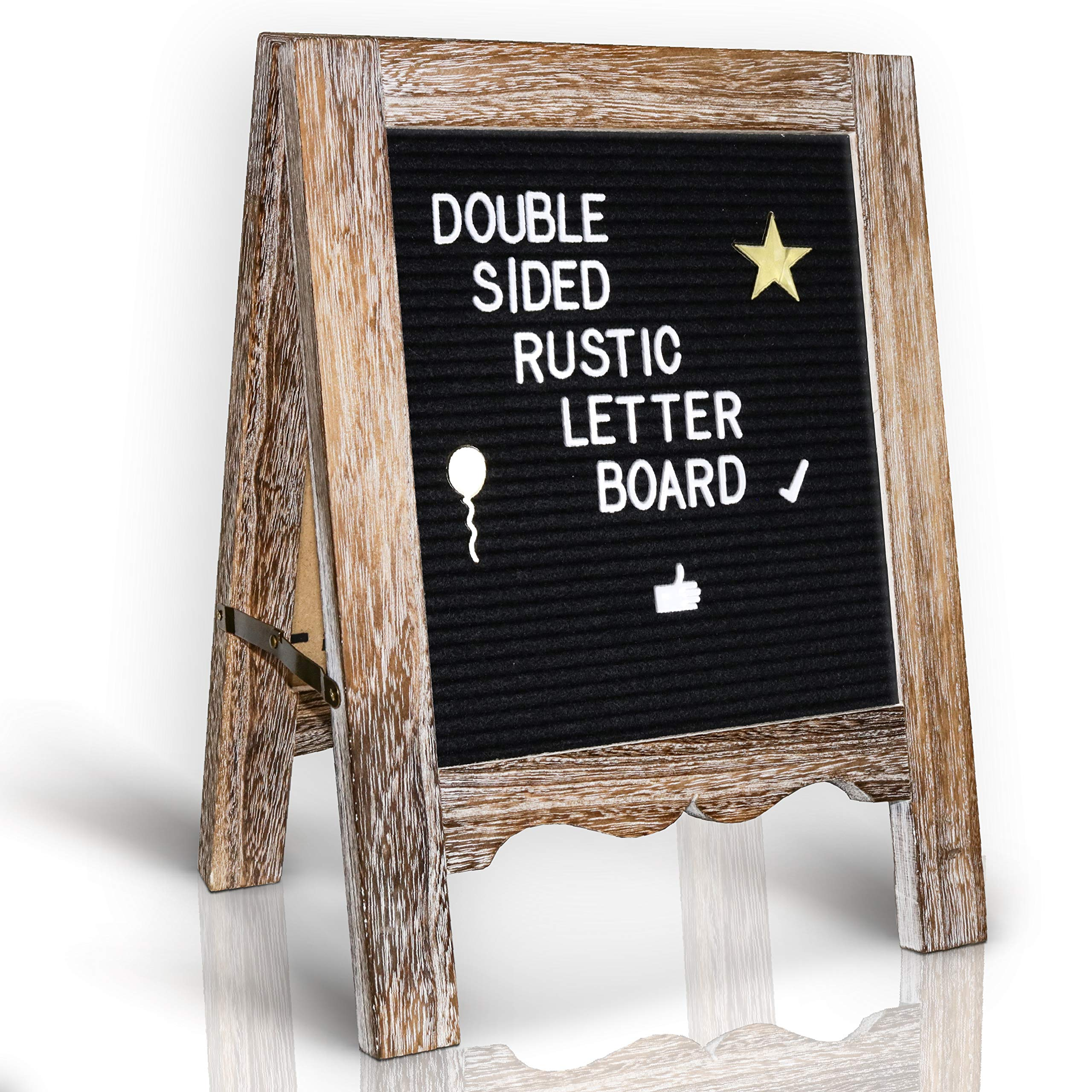 Rustic Felt Letter Board 15x11|Double Sided Black, Grey 792 White, Gold Characters| Perfect Letter Signboard, Message Board, Announcement Sign| Screw Driver, Wall Hanger, Letter Organizer Box, Bag