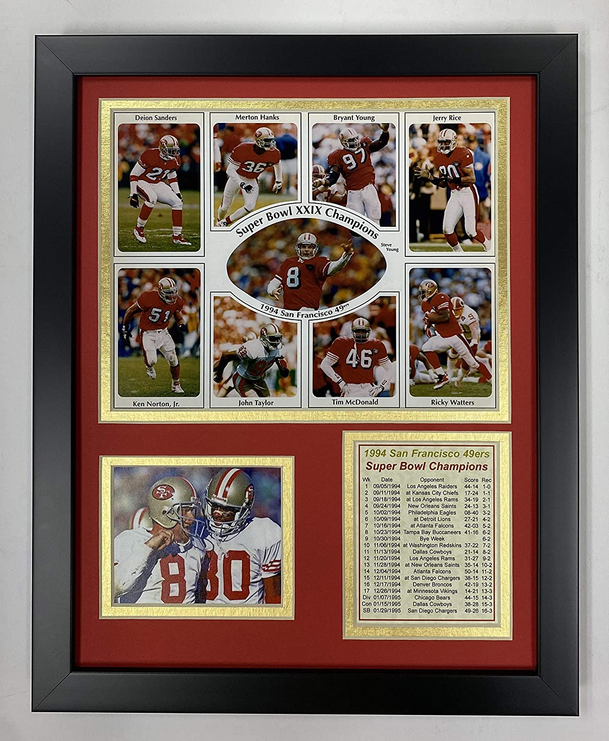 """San Francisco 49ers - 1994 Super Bowl Champions 11"""" x 14"""" Framed Photo Collage by Legends Never Die, Inc."""