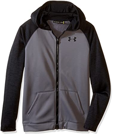 under armour zip up jacket. under armour boys\u0027 storm fleece full zip hoodie, graphite/black, youth up jacket