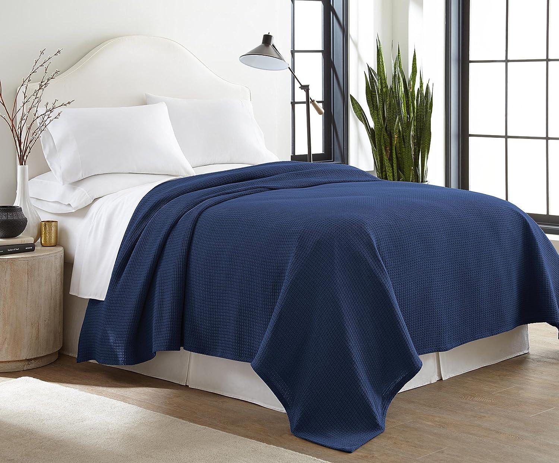 Indigo Navy 100/%  Cotton Soft Cozy Full//Queen Blanket Blue