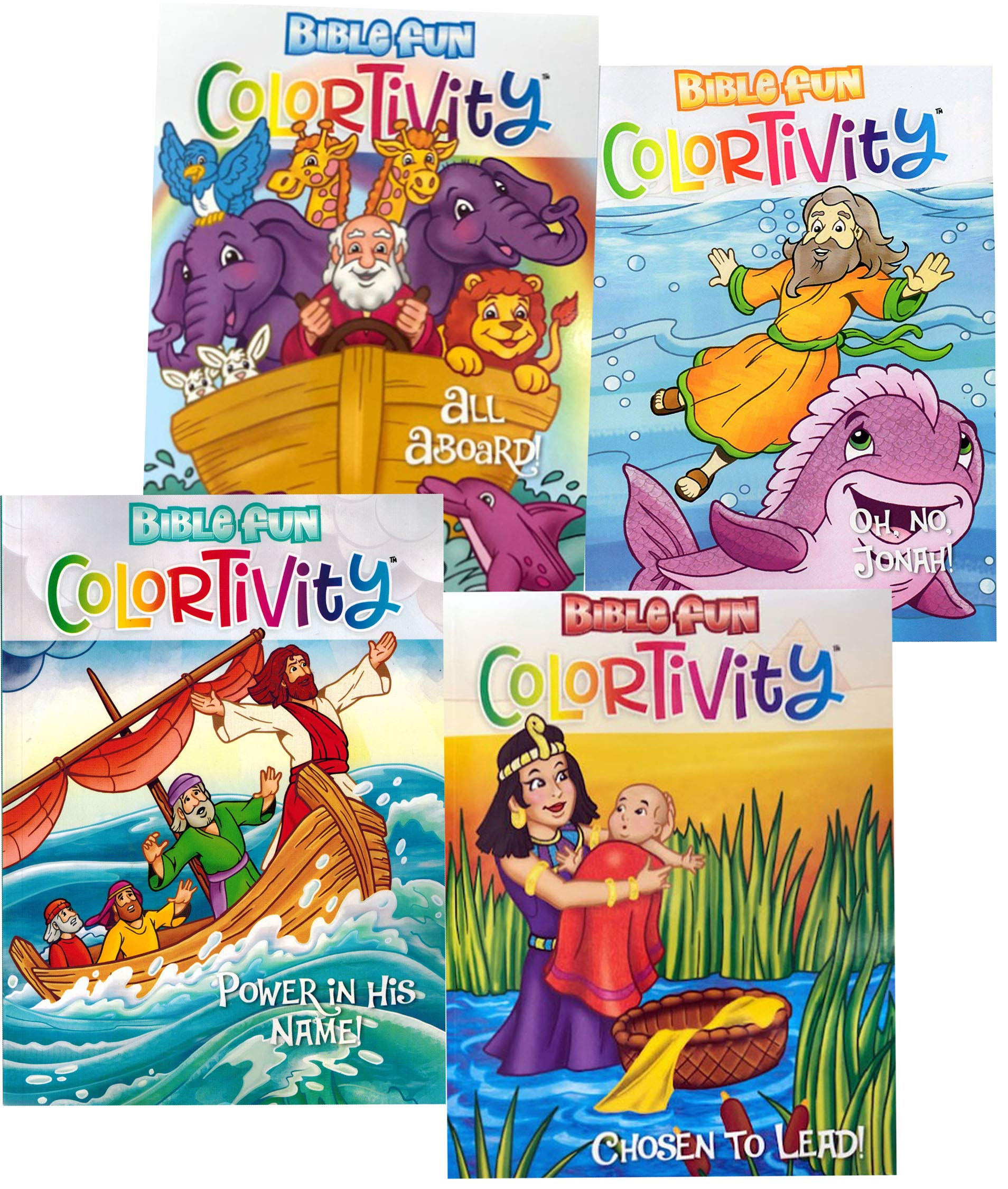 Colortivity Four Bible Fun Coloring Activity Books This Bundle Includes All Aboard,Power is His Name,Oh No Jonah ! and…