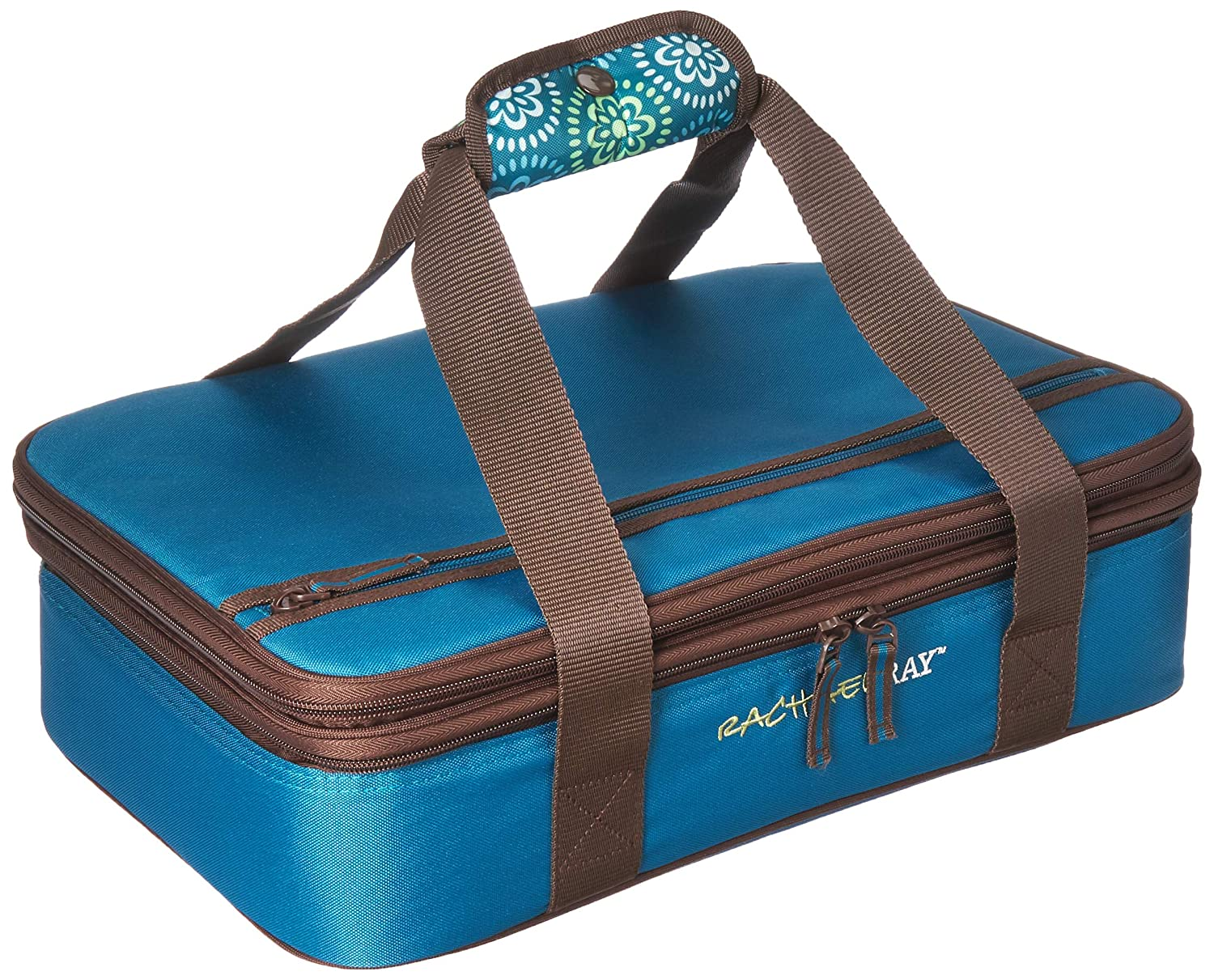 """Rachael Ray Expandable Lasagna Lugger, Double Casserole Carrier for Potluck Parties, Picnics, Tailgates - Fits two 9""""x13"""" Casserole Dishes, Marine Blue Floral Medallion"""