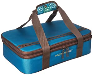 "Rachael Ray Expandable Lasagna Lugger, Double Casserole Carrier for Potluck Parties, Picnics, Tailgates - Fits two 9""x13"" Casserole Dishes, Marine Blue Floral Medallion"