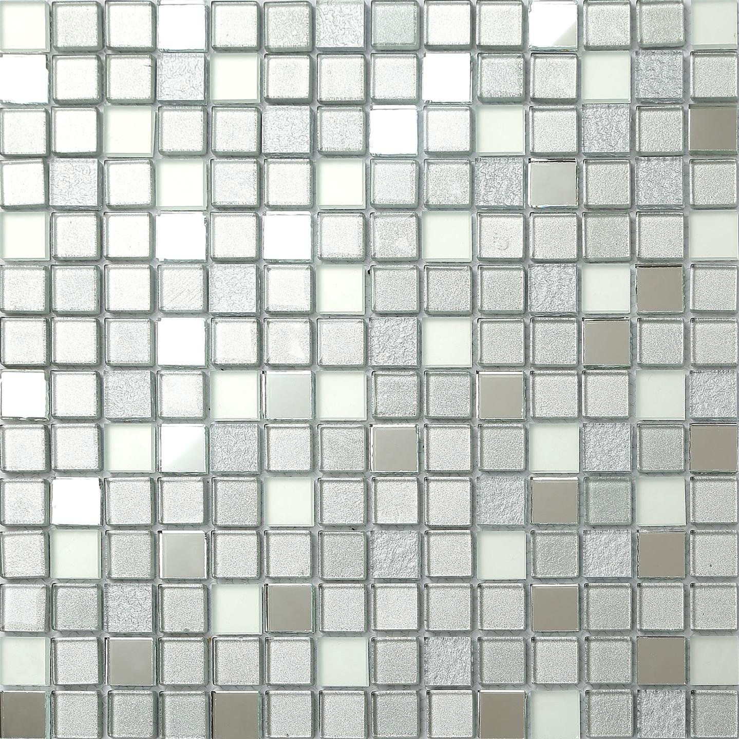 30cm x 30cm Silver Mirror Frosted Glitter Mix Glass Mosaic Tiles ...