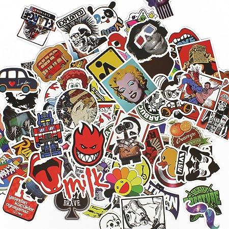 LBTrading Pack de 100 PCS Impermeables Estilos Aleatorios Pegatinas de Graffiti de Moda para Equipaje Maleta Skateboard Laptop Phone Car Bike: Amazon.es: Hogar