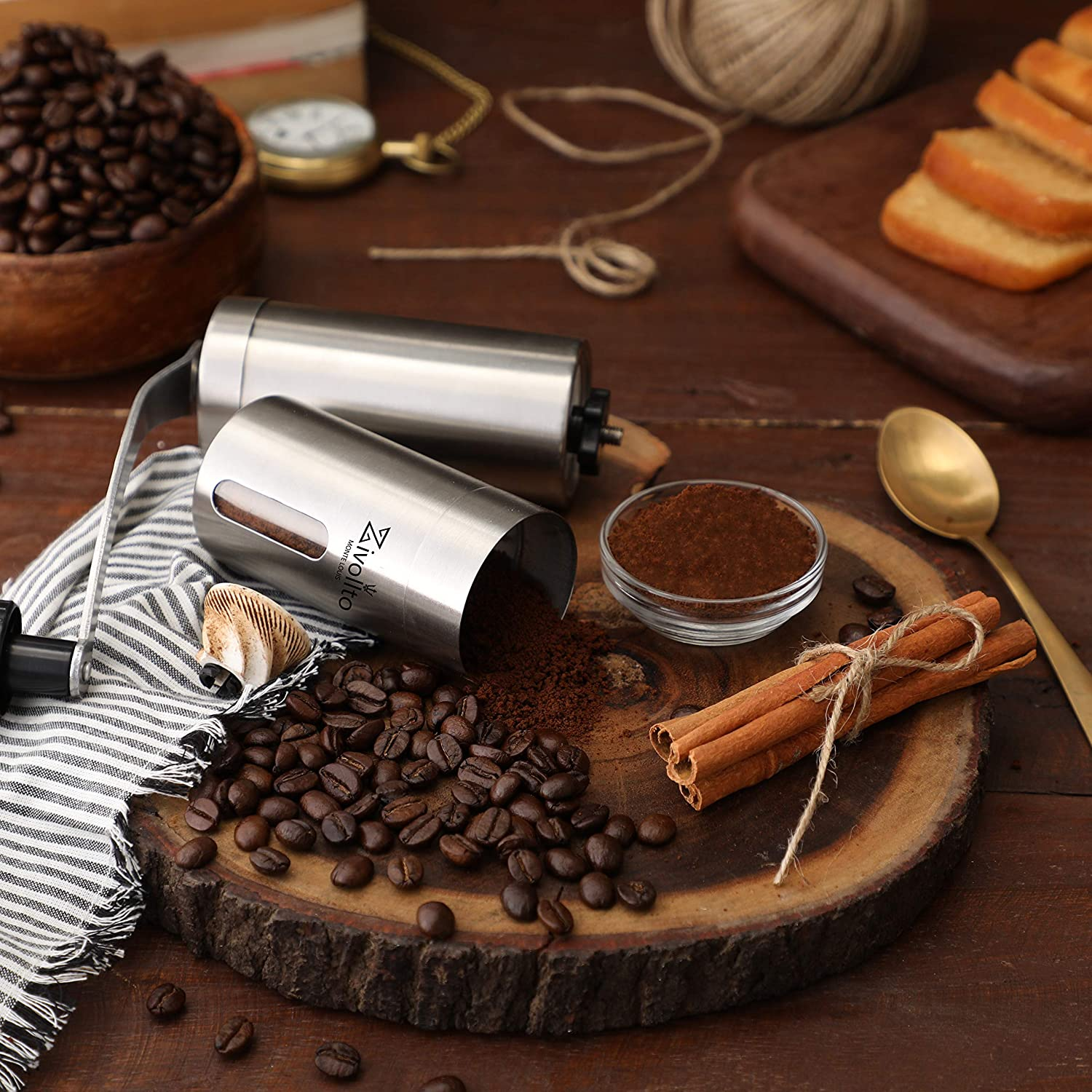Unique Design Conical Ceramic Burr Mill for Easy Grind Zivollto Manual Coffee Grinder Made with Supreme Quality Stainless Steel Strong and Heavy Duty Built for Travel Hand Sized and Portable