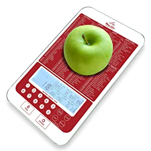 Mackie Digital Kitchen Scale, Food Scale with Nutritional Portions Facts Calorie and Macro Calculator (New Brighter Backlit Display) Unrivaled Quality (Red)