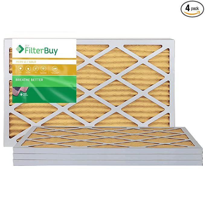 FilterBuy 16x20x1 MERV 11 Pleated AC Furnace Air Filter, (Pack of 4 Filters), 16x20x1 - Gold