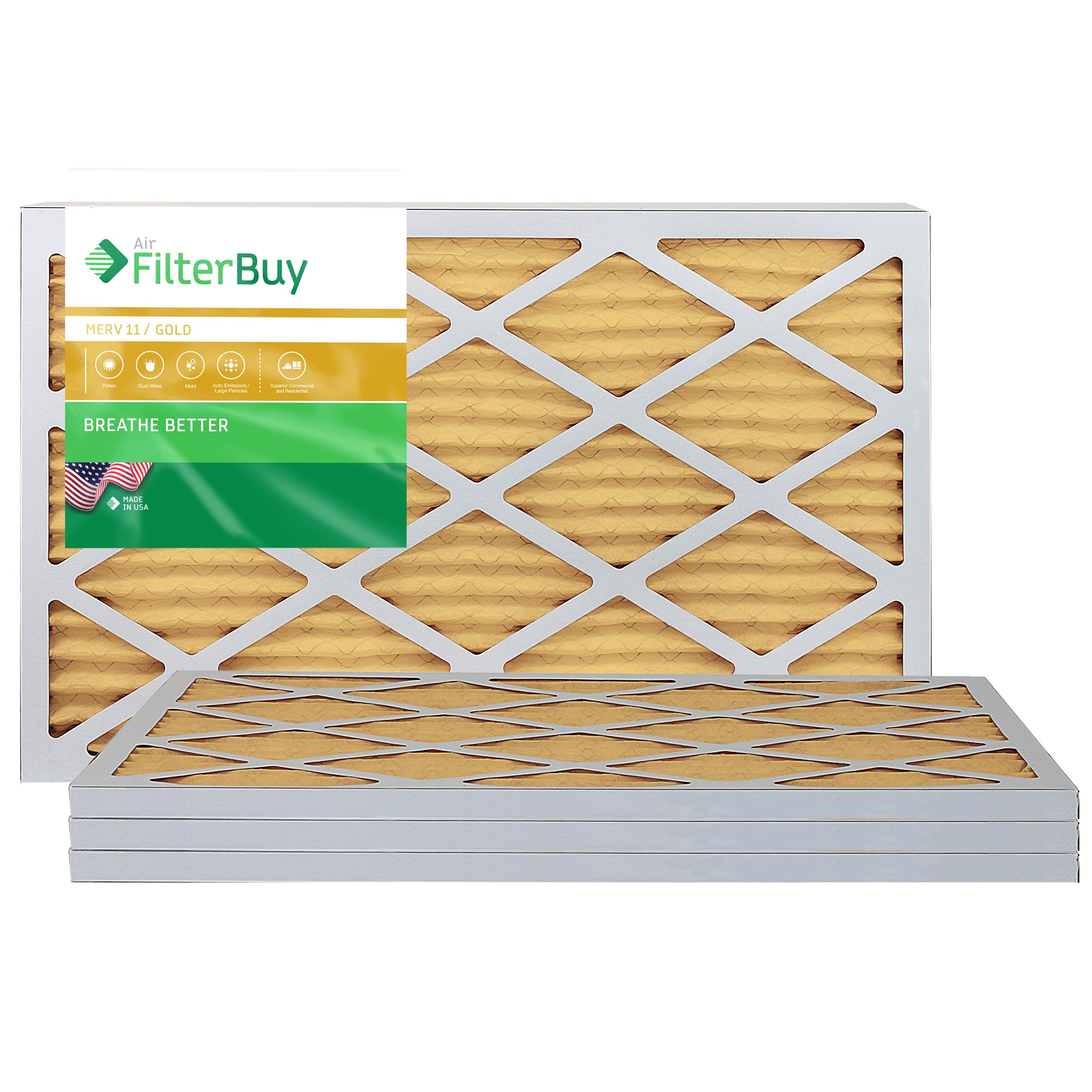 FilterBuy AFB Gold MERV 11 16x25x1 Pleated AC Furnace Air Filter, Pack of 4