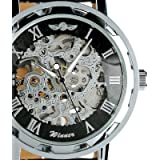 ESS Men's Black Leather Luxury Stainless Steel Skeleton Hand-Wind Up Mechanical Watch WM090