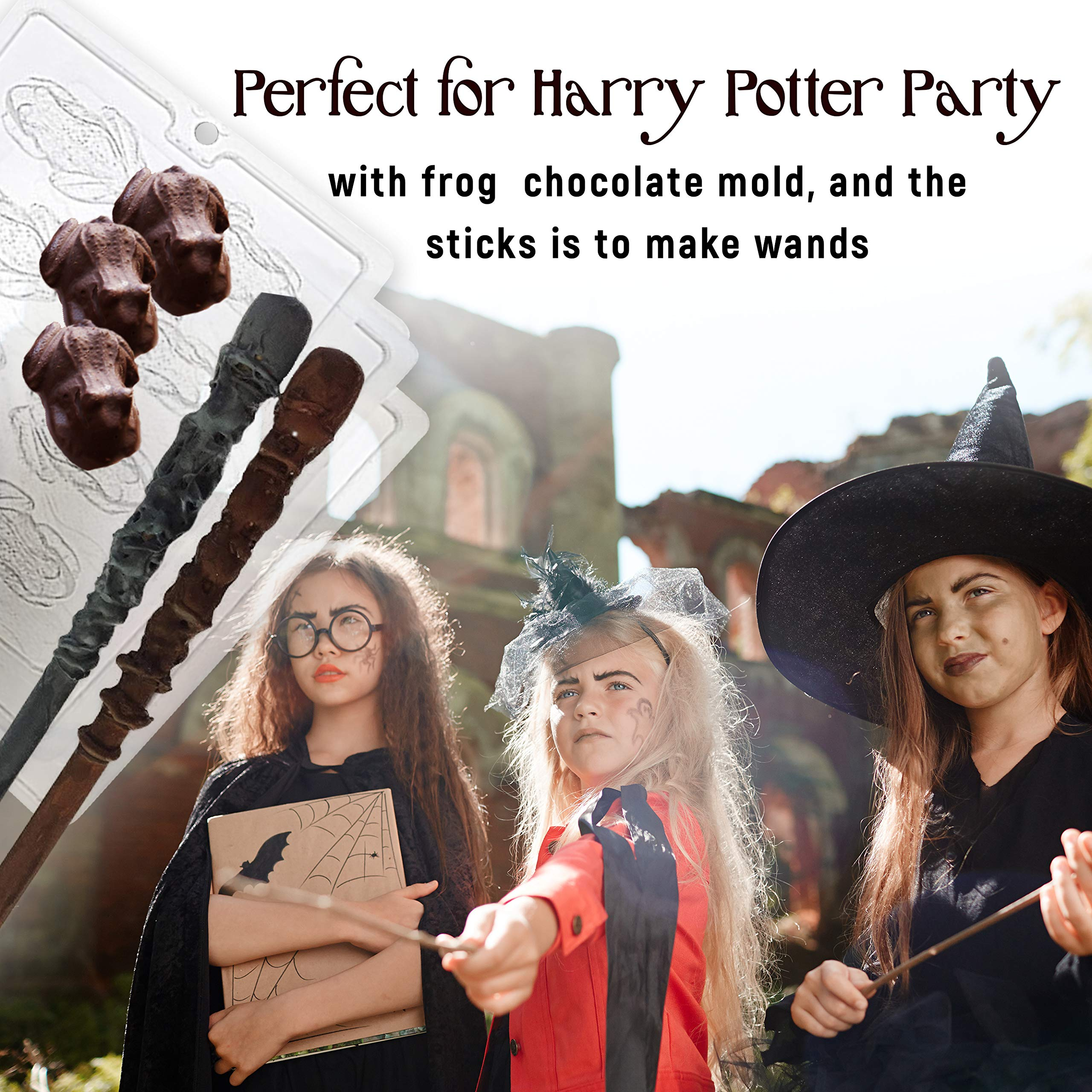 Candy Chocolate Frog Mold And Magic Wizard Wand Making - 3 Frog Mold With 8 Cavities Each, With 15, 9'' Bamboo Chopsticks - Perfect For DIY Crafts Wizard Wand. by kedudes