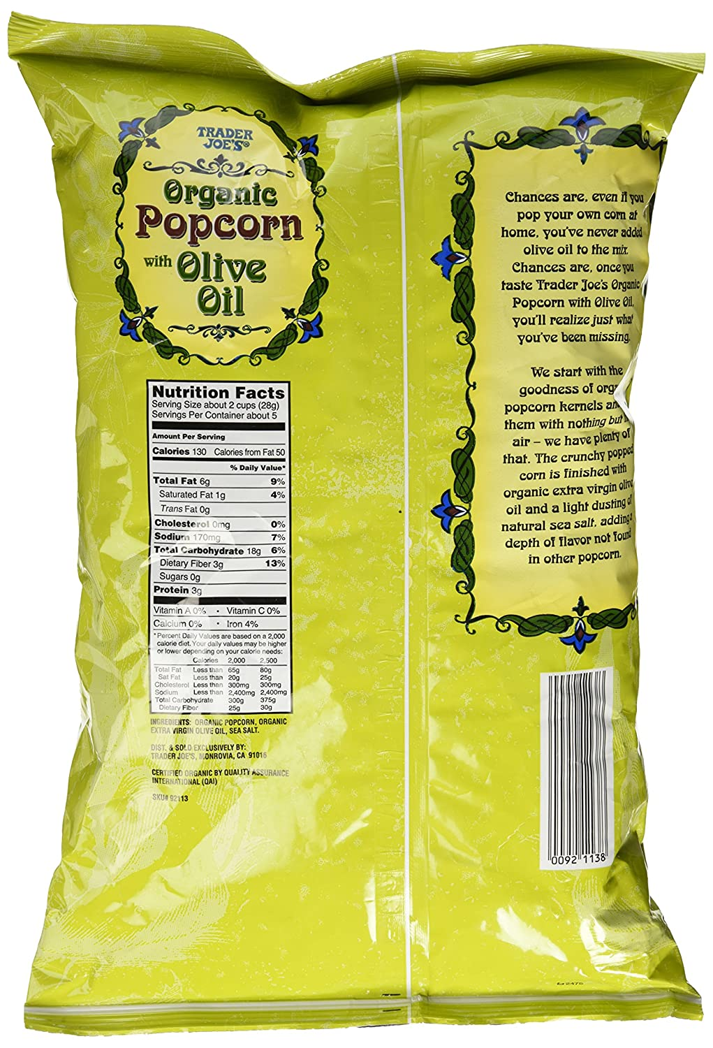 Amazon Com Trader Joe S Organic Popcorn With Olive Oil