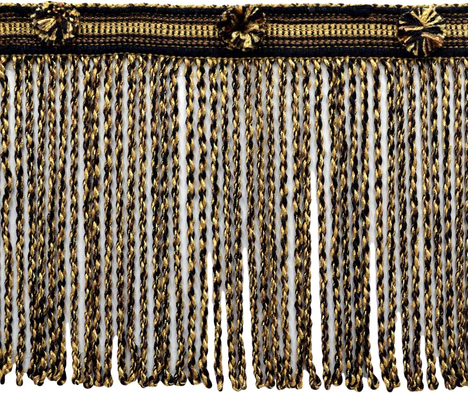 Gold Black 21768 15 Ft // 4.6 Meters D/ÉCOPRO 5 Yard Value Pack of 6 Inch Long Chocolate Brown Straw Bullion Fringe Trim|Style# BFHR6|Color: Chestnut