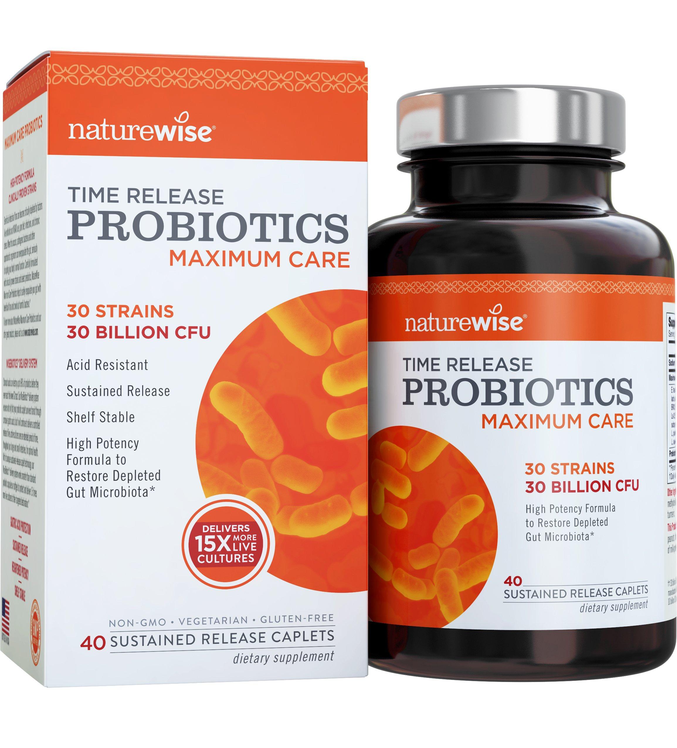 NatureWise Maximum Care Time-Release Probiotics for Men and Women: Comparable to 450 Billion CFU Probiotic Supplement, High Potency, 30 Strains, 40 Caplets