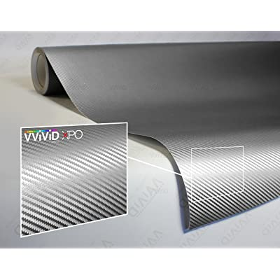 VViViD XPO Sterling Silver 3D Carbon Fiber 5 Feet x 1 Foot Vinyl Wrap Roll with Air Release Technology: Automotive