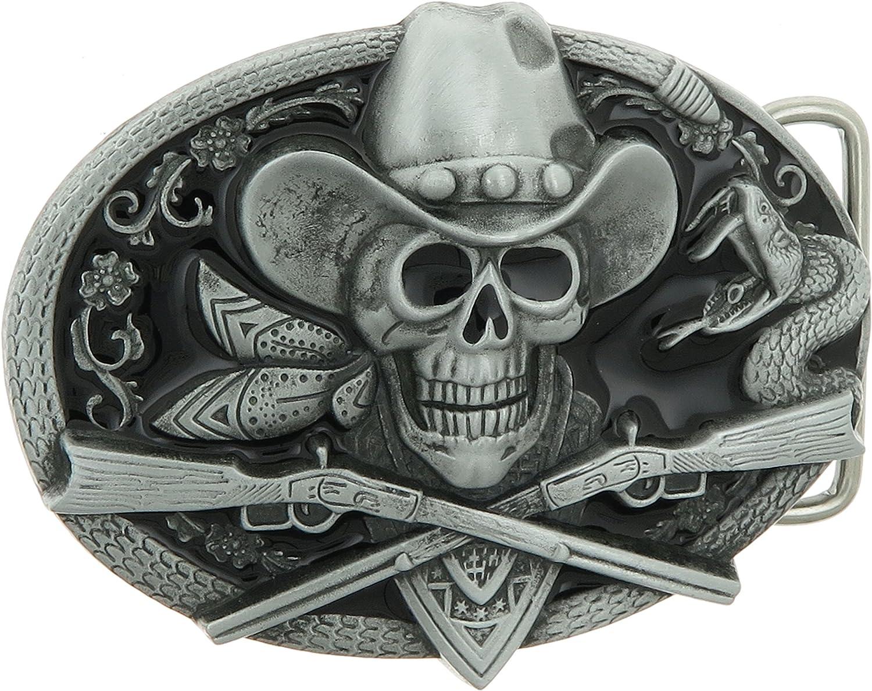 Cowboy Skull /& Guns Buckle