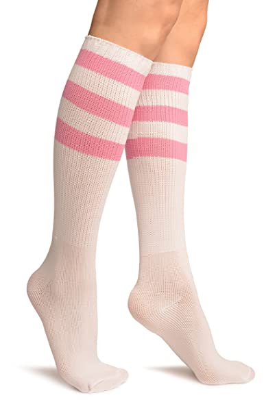 aeaa02ad5 Pink Stripes On White (Referee) Socks Knee High - Socks at Amazon Women's  Clothing store: