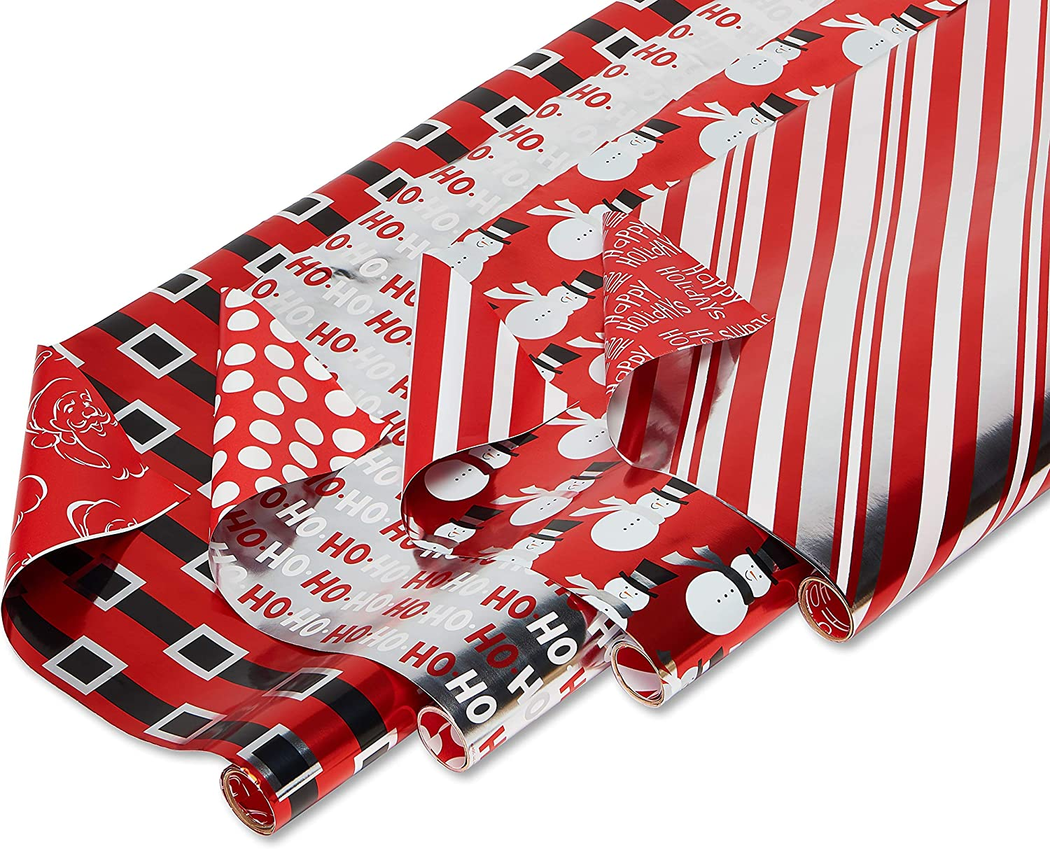 """American Greetings Reversible Christmas Foil Wrapping Paper, Red, Black and Silver, Candy Cane Stripe, Snowmen and Santa Belt (4 Pack, 30"""", 80 sq. ft.)"""