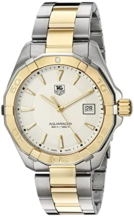 ae2ea7370c6d5 TAG Heuer Men's 'Aquaracracer' Swiss Quartz Gold and Stainless Steel Dress  Watch, Color