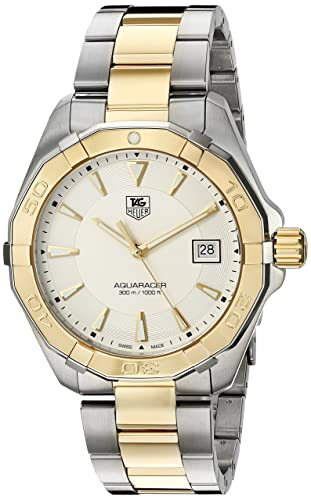 TAG Heuer Men s Aquaracracer Swiss Quartz Gold and Stainless Steel Dress Watch, Color Two Tone Model WAY1120.BB0930