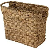 Decorative Farmhouse Wicker Magazine Holder and Organizer Bin with Handle, Water Hyacinth Woven Standing Rack Basket for…