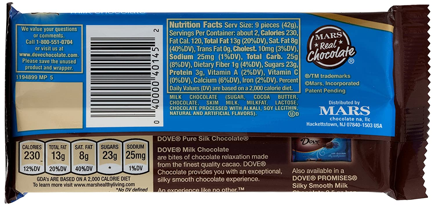 Dove Milk Chocolate Sharing Size Candy Bar 330 Ounce Bar 12 Count