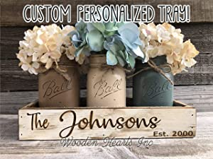 Personalized Name Established Date CUSTOM Tray ENGRAVED Wood Mason Canning Pint Quart JARS & Florals Optional Centerpiece Kitchen Table Decor Distressed Rustic Housewarming Wedding Anniversary Decor