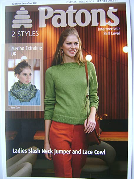 Patons Merino Extrafine Dk Ladies Slash Neck Jumper And Lace Cowl