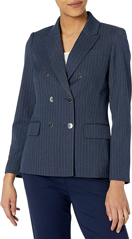 Tahari ASL Womens Double Breasted Pinstripe Blazer with Patch Pockets