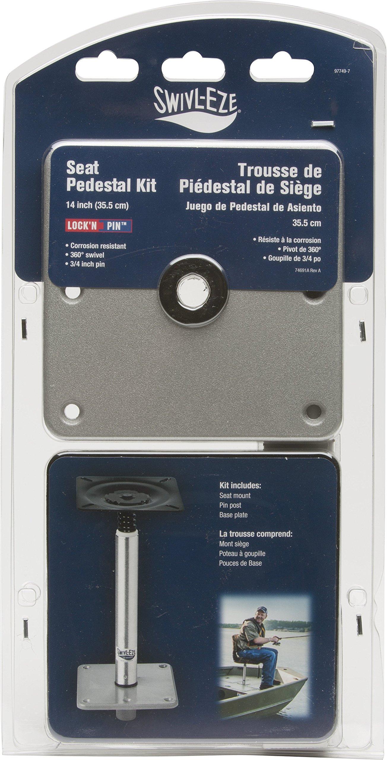 Swivl-Eze Lock-N-Pin 3/4'' Brushed Aluminum Pedestal Set with 14'' Post