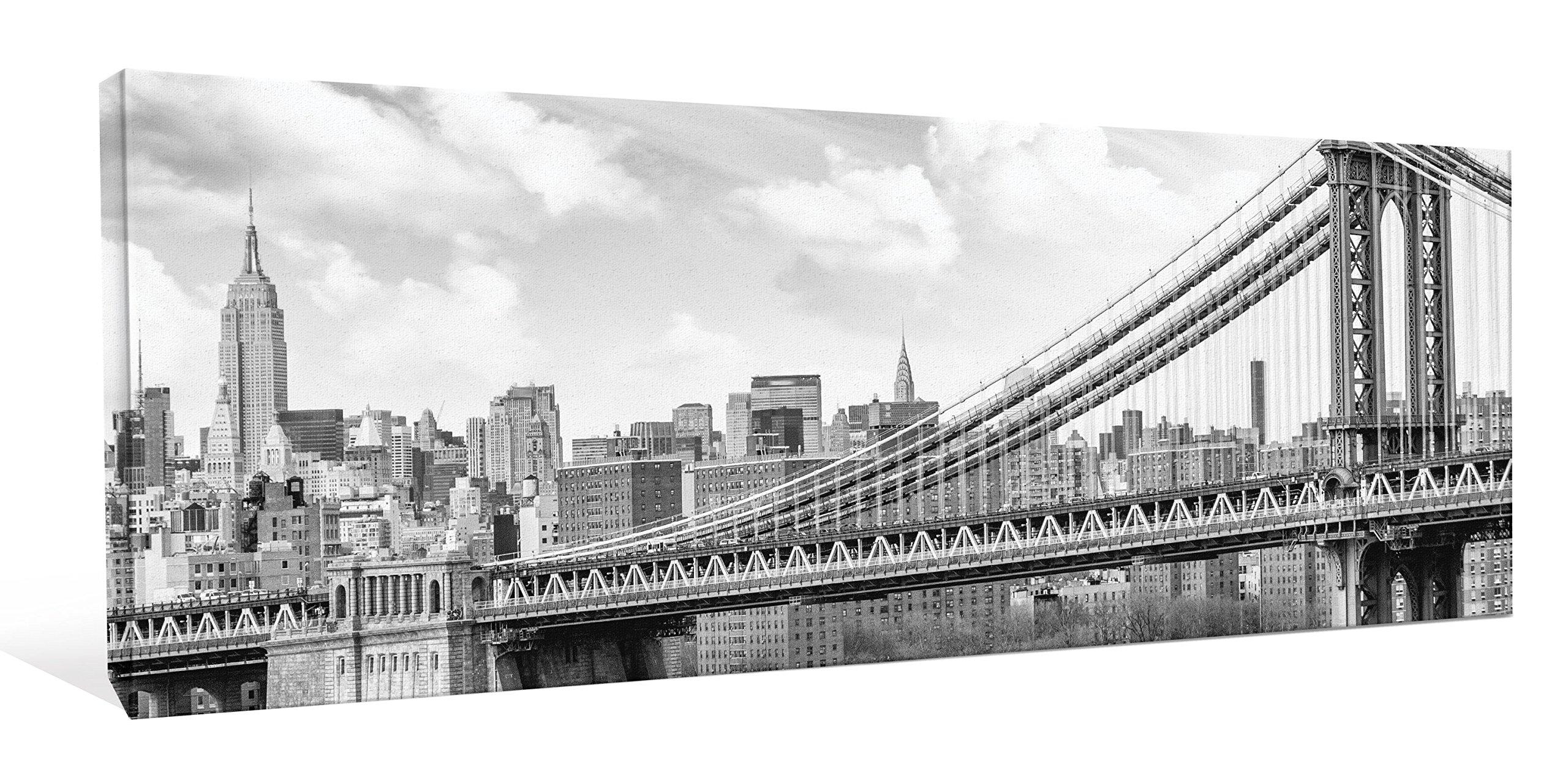 JP London CNVPAN5063 New York Manhattan Bridge USA 2'' Thick Gallery Wrap Heavyweight Canvas Art Wallpaper, 46 x 16'' by JP London