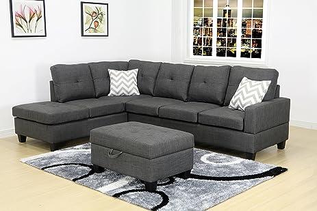 U.S. Livings Skyla Modern Living Room Sectional Sofa Set With Ottoman  (Left, Grey Linen