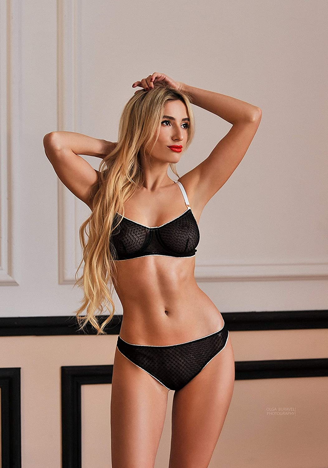 6e79bfb8ca5 Black lingerie set with white edging ⇼ black erotic lingerie ⇼ sexy  underwear ⇼ balcony bra and string panties ⇼ black lingerie with white  edging