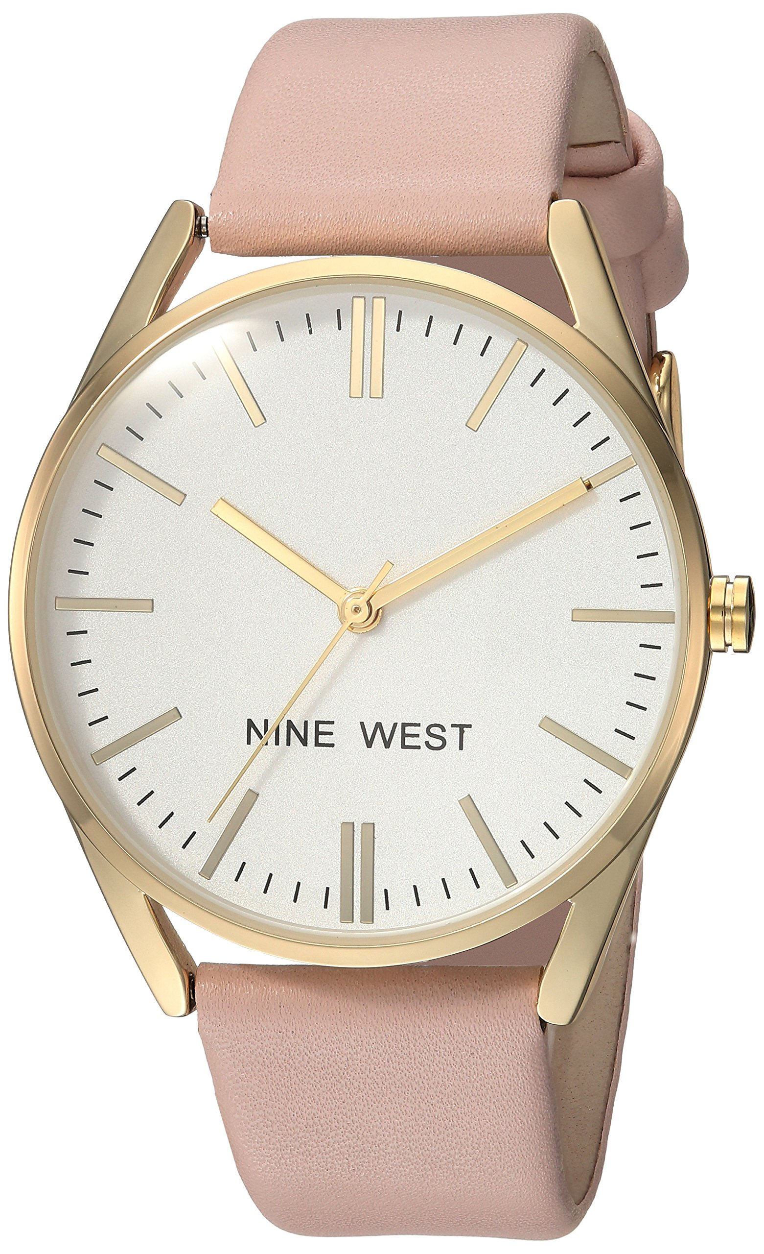 Nine West Women's NW/1994WTPK Gold-Tone and Pastel Pink Strap Watch by Nine West
